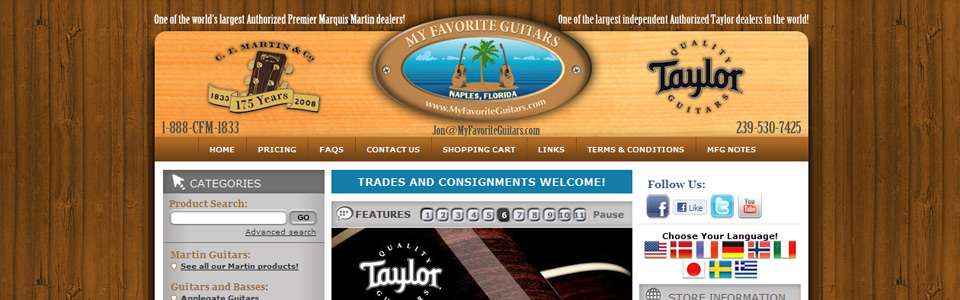 xCart e-commerce for a large Guitar/Music store.