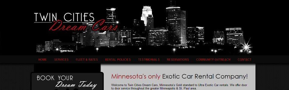 MN exotic car rental site with registration form.